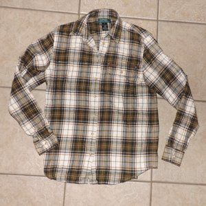 Brown Plaid Sz Small Button Up Soft Flannel Shirt